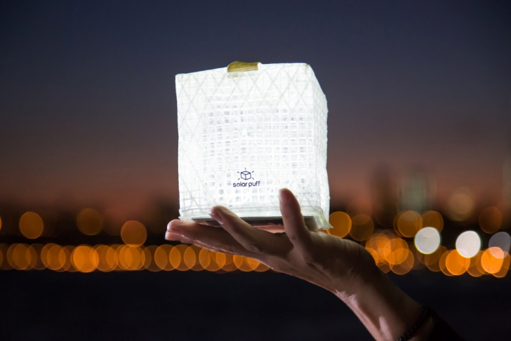 The foldable Solight Solarpuff solar-powered lantern provides off-grid light where there is no electricity