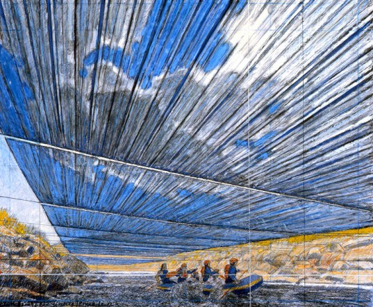 Christo, Over the River, drawing, Wolfgang Volz, silver panels, plan