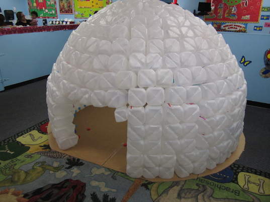 Check out this adorable igloo made entirely out of recycled milk jugs