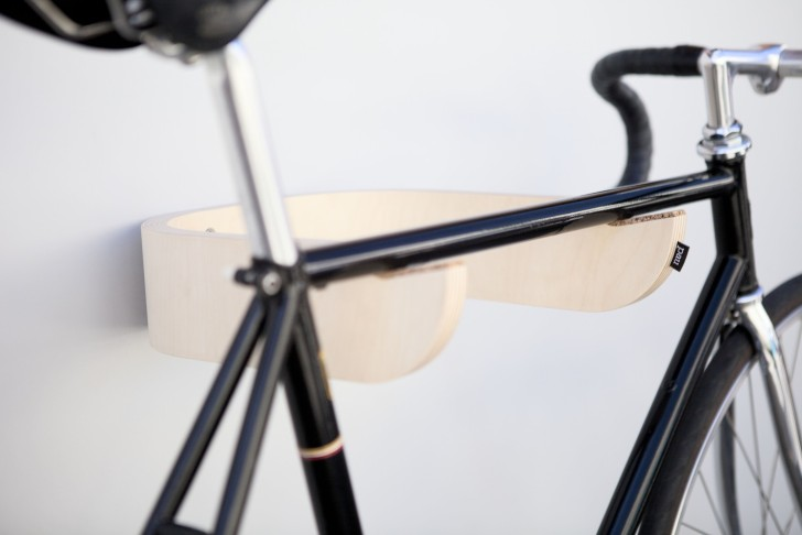 Pau Is A Minimalist Bicycle Wall Rack Made From Birch Plywood
