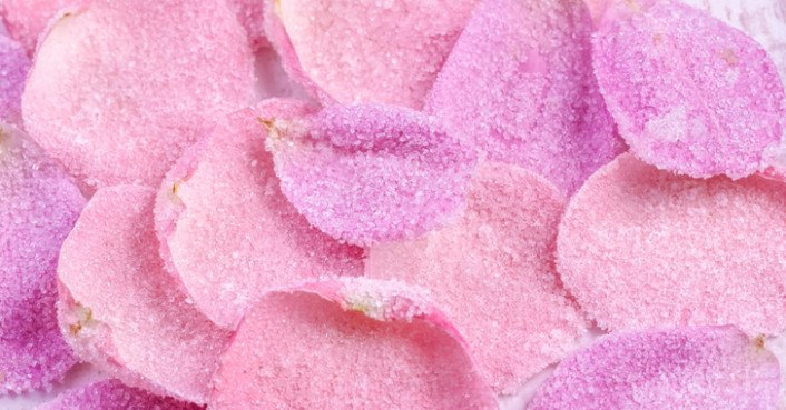Vegan candied rose petals