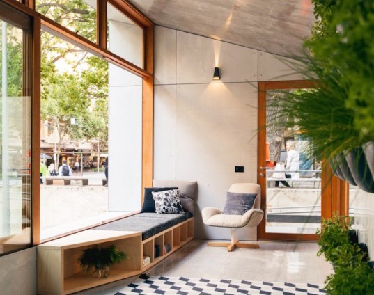 Archiblox, sunroom, carbon positive house, carbon positive, prefab, prefab house, carbon positive prefab, Melbourne, Australia, in-ground tubes, green roof, rainwater recycling, sustainably sourced materials, vertical, modular cabinets, double glazed facade, solar gain, passive design