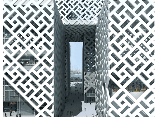 Godefroy Tang Architects, ThyssenKrupp Elevator, Cube Tower, China, Chinese architecture, Foshan, Guangdong, ThyssenKrupp, cube architecture, cuboid architecture, mixed use high rise, mixed use