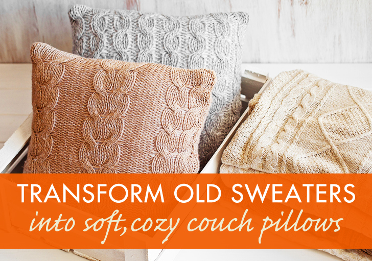 HOW TO Recycle A Sweater Into A Throw Pillow Inhabitat Green Stunning How To Cover A Pillow With Fabric