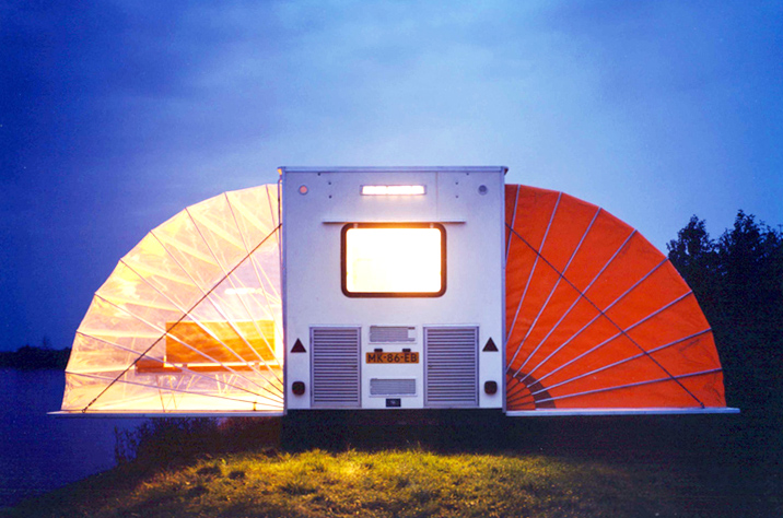 Incredible De Markies trailer folds out to triple its size with adjustable awnings