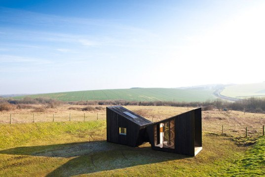 Feilden Clegg Bradley Studios, The Observatory, charred-timber, mobile shelters, off-grid cabins, artists' studio, SPUD, woven rope screen, Edward Crumpton