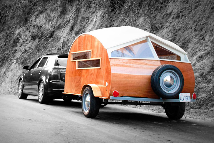 The Tiny H 252 Tte Hut Is A Wonderful Wooden Teardrop Camper