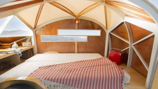 Hütte Hut, camper, portable camper, eco-travel, tiny campers, green vehicles, green transportation, laser-cut plywood, plywood, geodesic domes, marine grade plywood