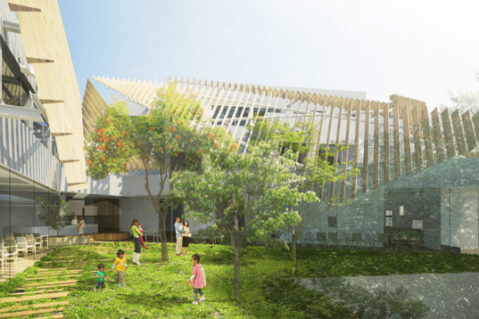 japanese architecture, japanese hospital, tokyo hospital, kengo kuma, seijo kinoshita hospital, natural lighting indoors, landscaped garden, green spaces in hospitals