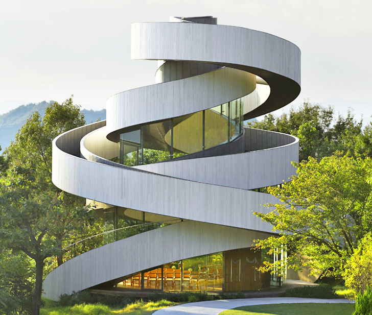 Spiraling wedding chapel in Japan looks like gently twining