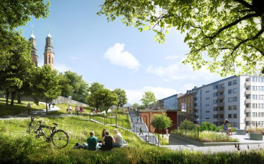 Utopia Arkitekter, Stockholm, Sweden, redevelopment, apartment building, green redevelopment, brick facade, terraced facade, roof terrace, Tham Videgård Arkitekter, Swedish architecture, green architecture