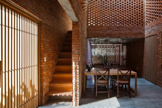 concrete home, brick house, perforated brick, perforated facade, brick facade, Vietnam, Vietnamese architects, green renovation, passive cooling, skylights, Tropical space