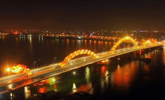 dragon bridge, dragon bridge Han River, dragon bridge Vietnam, dragon bridge Han River Vietnam, world's longest dragon bridge, dragon shaped bridge