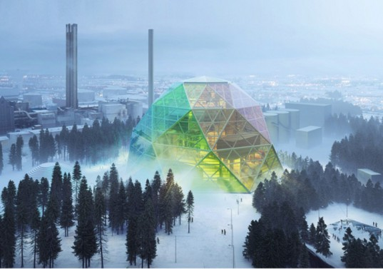 big, bjarke ingels, bjarke ingels group, geodesic dome, uppsala, sweden, biomass, power plant