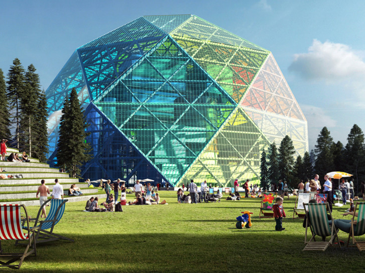 Big Unveils A Luminescent Geodesic Dome Biomass Power