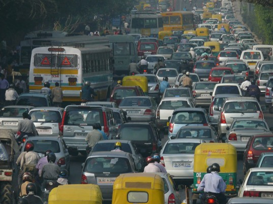 Traffic Jam Delhi Air Pollution