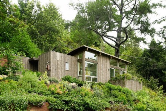 rooftop garden, woodland cabins, california cabins, natural-looking architecture, low-impact construction, cabin art studio, cabin yoga space, cabin guest home, cabin guest room, cabins with natural light