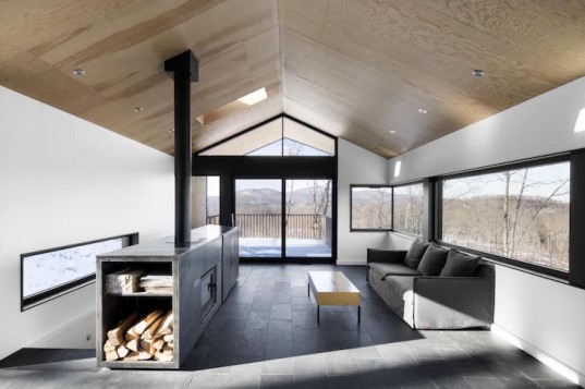 Bolton Residence, mnimalist cabin, cabin, Quebec, Naturehumaine, locally sourced material, timber frame, passive ventilation, slow-combustion fireplace, Eastern Townships, natural plateau, gabled, cantilevered, Bolton Residence by Naturehumaine
