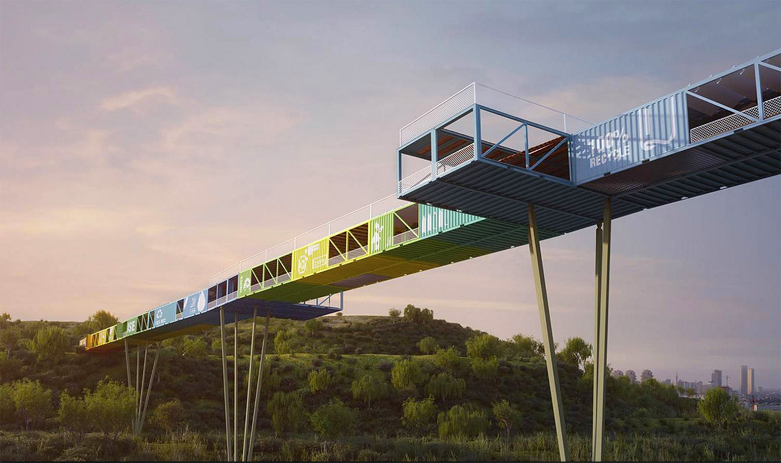 Shipping container architecture research - Econtainer Recycled Shipping Container Bridge Provides Gateway To Tel Aviv S Ariel Sharon National Park