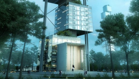 Weingartner Architects, Elastic Woodscraper II, vertical architecture, wooden tower, vertical garden, green architecture, rooftop terrace, urban garden, heat recovery, glass facade