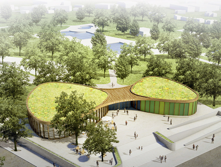 hager partner and nps tchoban voss collaborate to design a green roofed rec center near berlin. Black Bedroom Furniture Sets. Home Design Ideas