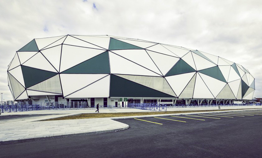 Konya City Stadium S Faceted Artificial Turf Facade