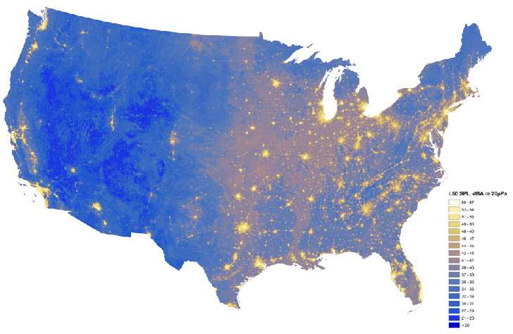 National Parks Service Map Shows Levels Of Noise Pollution Across - Us pollution map