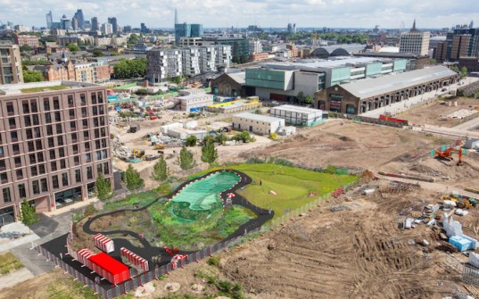 King's Cross, Ooze architects, Marjetica Potrč, Of Soil and Water: King's Cross Pond Club, King's cross redevelopment, Efa Pfannes, ecosystem, small-scale pond, natural pool, natural swimming pool, natural pond, wetland plants