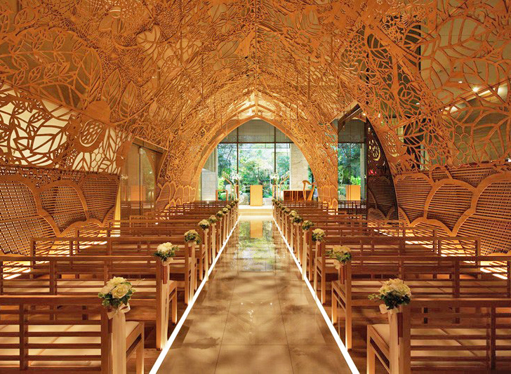 The Wedding Chapel.Japanese Wedding Chapel Is Lined With Intricate Hand Carved Flowers