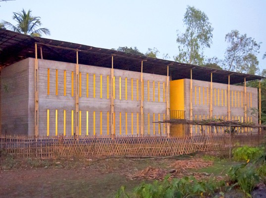 bamboo architecture, SchilderScholte, Pani Community Center, Rajarat, rainwater collection, recycled corrugated metal