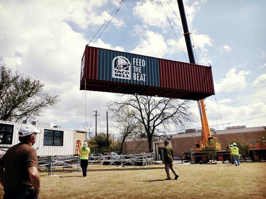 Taco Bell shipping container stand, SXSW 2015, shipping container design, modular design, shipping container restaurants, sustainable design, sustainable restaurants, urban design, taco bell design, kitchen design, sustainable building, sustainable materials