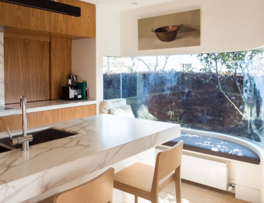 green design, eco design, sustainable design , Kontista + Co, Thomas Winwood Architecture, Merton House, adaptive reuse, updated Victorian home, LED Lighting, Double glazed windows, curving glass curtain