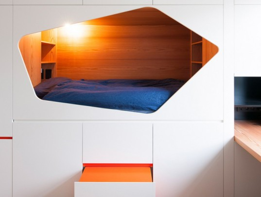 VAN STAEYEN Interior Architects, bedroom, small spaces, built-in beds, transformable furniture, transforming furniture, Belgian architects, interior design