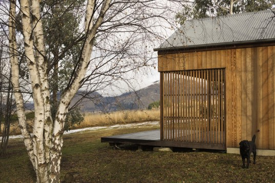 Wakatipu guest house, guests houses, New Zealand guest house, guest house architecture, guest house designs, New Zealand architecture, green design, green architecture, small homes, Team Green Architects, cedar shutters, natural home, environmentally friendly design