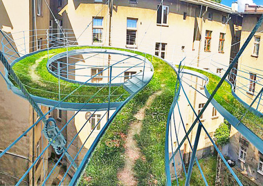 green design, eco design, sustainable design , Zalewski Architecture Group, Walk-on Balcony, spiraling balcony, green covered balcony