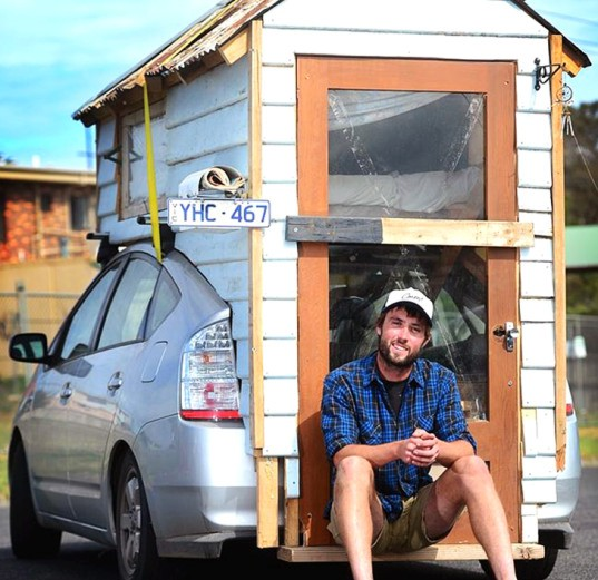 toyota prius, hybrid motorhome, tiny home on wheels, handmade tiny home, salvaged materials tiny home, reclaimed materials tiny home, james lawler