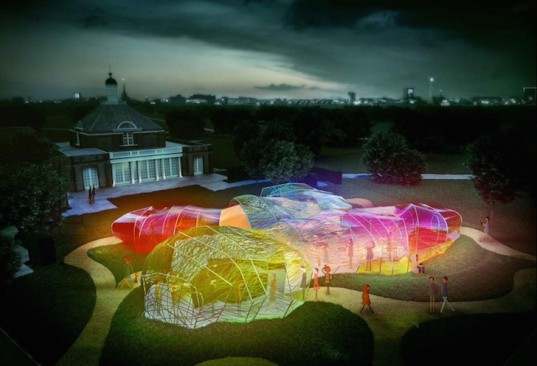 London, SelgasCano, Serpentine Pavilion, Serpentine Galleries, London, Kensington Gardens, ETFE, plastic fabric, webbing, labyrinth, maze, multicolored pavilion, pavilion,