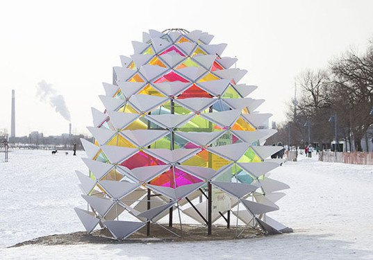 green design, eco design, sustainable design , Diana Koncan, Lily Jeon, Ryserson Architectural Science, Geodesic Dome, Winter Stations, RAW design, Ferris + Associates, Curio, Kew Beach Toronto, Snowcone igloo