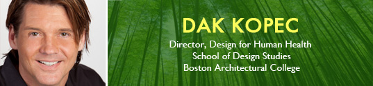habilitative design, Boston Architectural College, BAC, Dr. Dak Kopec, Architectural Psychologists and Director, Master of Design Studies, Design for Human Health, Alzheimer's disease, group home design, retirement home design,  BAC student design, design for disabled seniors