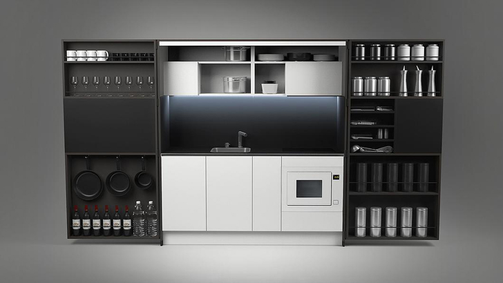 Dizzconcept's full-sized gourmet PIA kitchen fits in a cabinet and ...