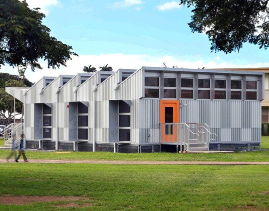 Andersen Anderson Architects, Hawaii portable classrooms, portable classrooms, low voc materials, natural daylight, natural ventilation, energy positive, energy positive classroom, energy conservation, occupancy sensor, minimal environmental impact, solar heat gain, FSC timber, natural finish,