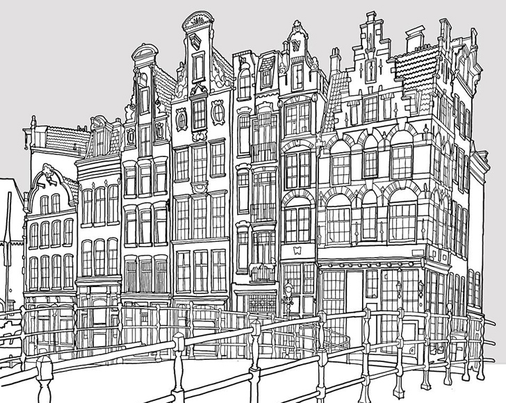architecture coloring book pages | Fantastic Cities is an architecture-themed coloring book ...