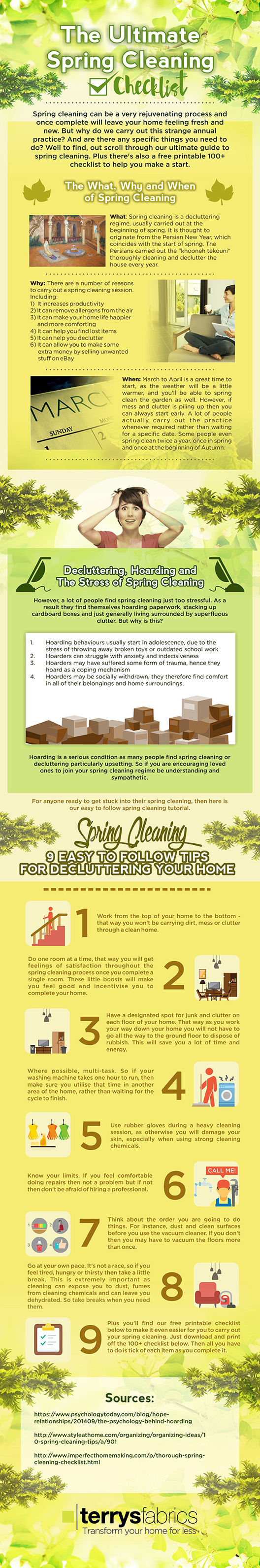 spring cleaning, infographic, spring cleaning infographic, home cleaning, home spring cleaning, DIY, DIY cleaning, decluttering, hoarding, decluttering tips