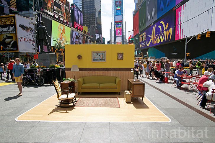PHOTOS A Living Room Of Found Furniture Pops Up In Times Square