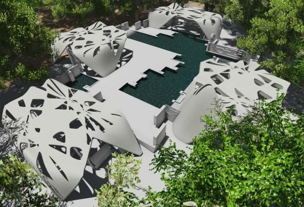 3D printing, 3D printed house, 3D printing building, 3D printed home, Adam Kushner, magnesium, D-Shape 3D printer, Enrico Dini, New York, 3D printed estate, Gardiner, 3D printed estate, 3D printed pool, 3D printed pool house, 3D printed 2400-square-foot house, architecture, additive manufacturing,