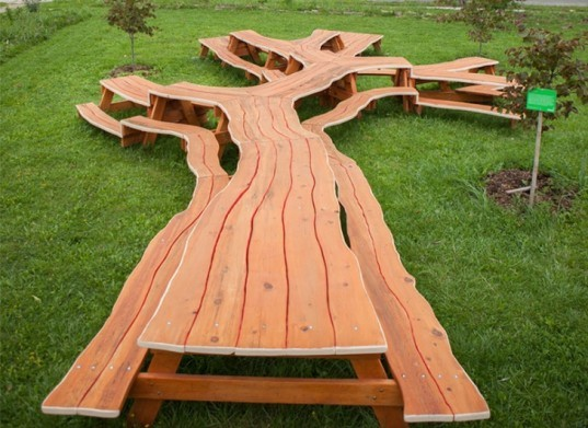 Michael Beitz, Wooden Sculpture, Green Furniture, Green Art, Table Design,  Picnic