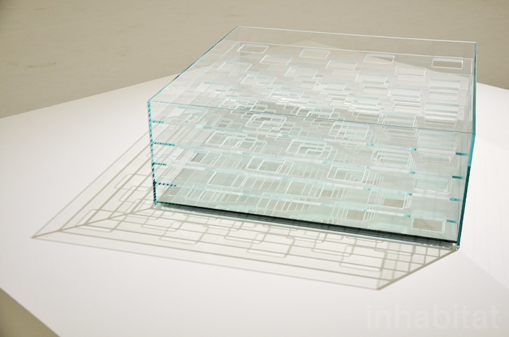 Nendo graduated glass table inhabitat green design for Material design space
