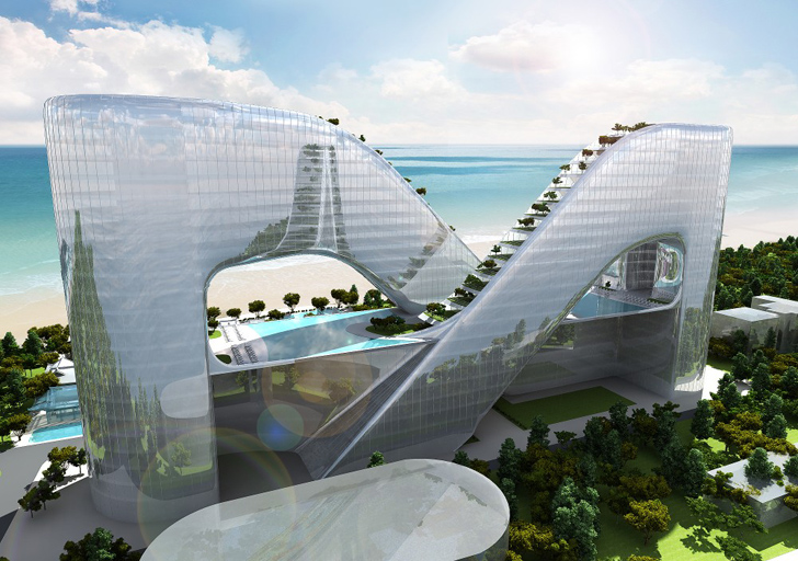 Sky garden lined hotel in pyeongchang is a sustainable for Sky design hotel