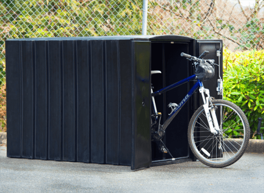 bike locker, reliance foundry, lockers for bikes, bike security, green design, eco design, sustainable designs, secure bike storage, bike storage