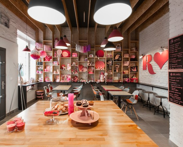 Rozove Cafe, mode:lina architecture studio, pinkest shop and cafe in Poznan, Poznan, Poland, mode:lina, plywood, MFP boards, herringbone tiles, brick walls, natural light